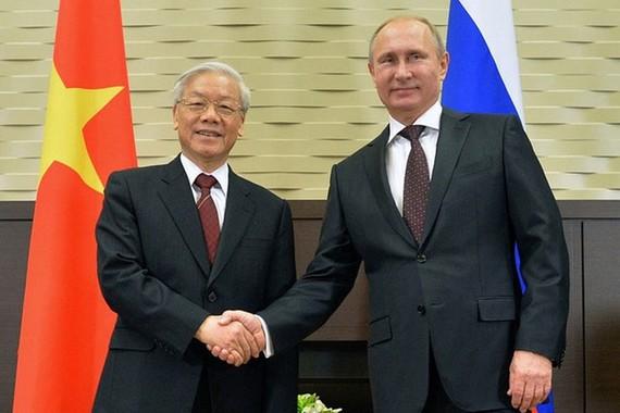 Tổng Bí thư Nguyễn Phú Trọng và Tổng thống Nga Vladimir Putin trong cuộc hội đàm tại Sochi tháng 11-2014. Ảnh: SPUTNIK