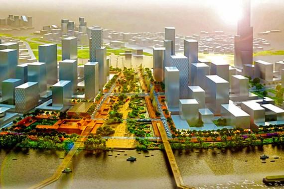 Phối cảnh quảng trường trung tâm Khu đô thị mới Thủ Thiêm             Ảnh: Phúc Long