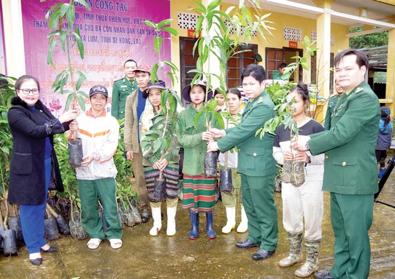 Tặng cây giống cho đồng bào biên giới nước bạn Lào