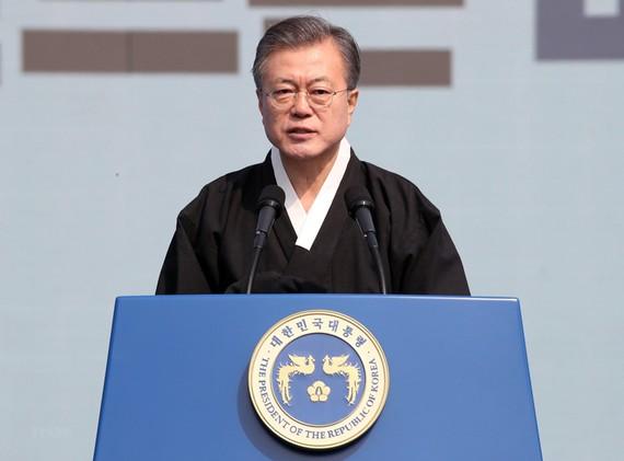 Tổng thống Hàn Quốc Moon Jae-in phát biểu tại một sự kiện ở thủ đô Seoul ngày 1/3/2019. (Nguồn: Yonhap/TTXVN)