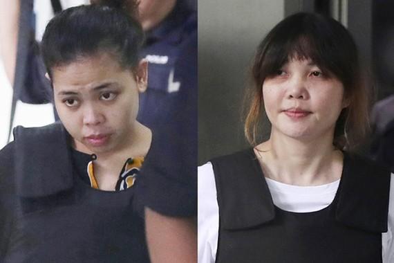 Siti Aisyah và Đoàn Thị Hương tại tòa. Ảnh: AP.