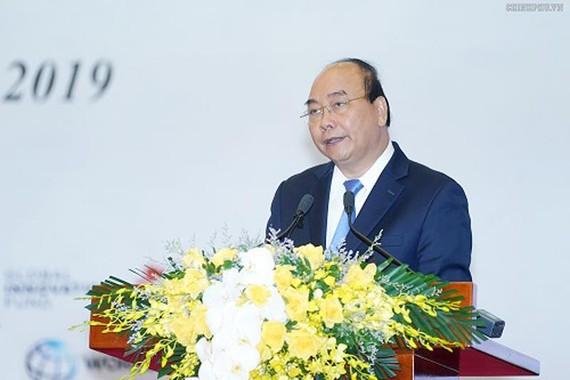 Thủ tướng Nguyễn Xuân Phúc phát biểu tại Hội nghị Khoa học công nghệ và Đổi mới sáng tạo - Ảnh: VGP