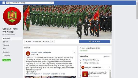 Fanpage chính thức của CATP Hà Nội có địa chỉ www.facebook.com/CongAnThuDo