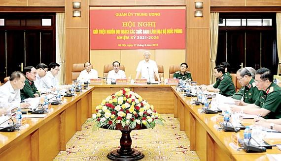 Tổng Bí thư Nguyễn Phú Trọng, Bí thư Quân ủy Trung ương phát biểu khai mạc Hội nghị giới thiệu nguồn quy hoạch các chức danh lãnh đạo Bộ Quốc phòng nhiệm kỳ 2021 – 2026. Ảnh: TTXVN
