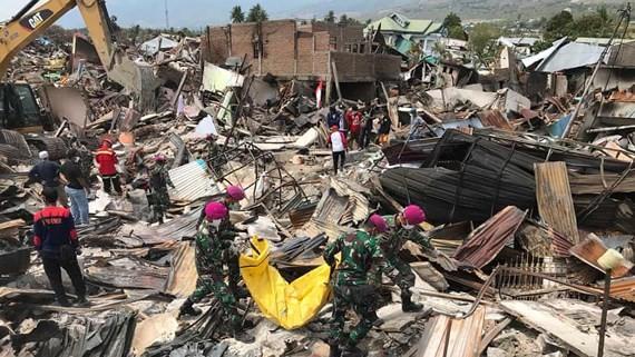 Thảm họa động đất và sóng thần tại đảo Trung Sulawesi, Indonesia vào tháng 9-2018. Ảnh: EPA