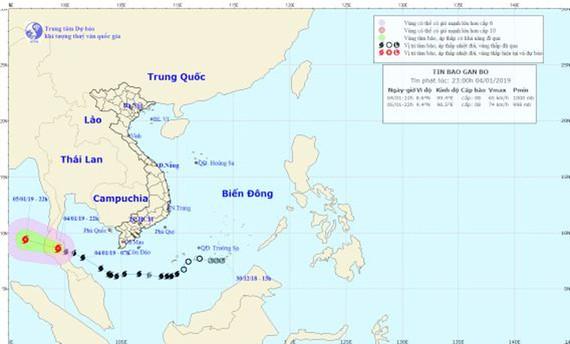 Vị trí và đường đi của cơn bão. Ảnh: Trung tâm Dự báo khí tượng thủy văn Quốc gia