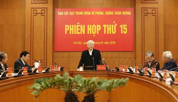 Tổng Bí thư, Chủ tịch nước Nguyễn Phú Trọng phát biểu kết luận phiên họp. Ảnh: TTXVN