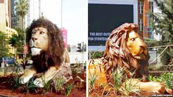 Tượng sư tử xấu xí làm dậy sóng Twitter