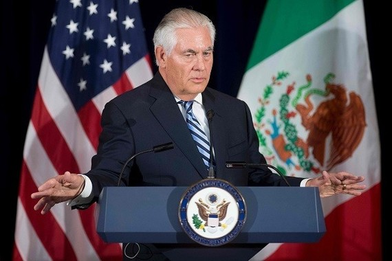 US Secretary of State Rex Tillerson speaks during a press conference at the State Department in Washington, DC, on Thursday. — AFP/VNA Photo