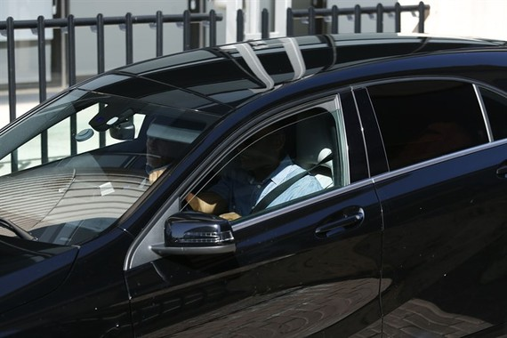 Unseen Real Madrid's Portuguese forward Cristiano Ronaldo arrives in a vehicle with tinted windows to appear at a court in Pozuelo de Alarcon, a wealthy suburb of Madrid on July 31, to answer on four counts of tax evasion of 14.7 million euros ($16.5 mill