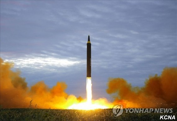This photo released by North Korea's state news agency on Aug. 30, 2017, shows North Korea's firing of a Hwasong-12 intermediate-range ballistic missile, which flew over Japan a day earlier. (For Use Only in the Republic of Korea. No Redistribution) (Yonh