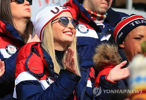 Ivanka Trump, the U.S. president's daughter and senior advisor, applauds while watching the four-man bobsleigh competition at the PyeongChang Winter Olympics at Olympic Sliding Centre in PyeongChang, Gangwon Province, on Feb. 25, 2018. (Yonhap)