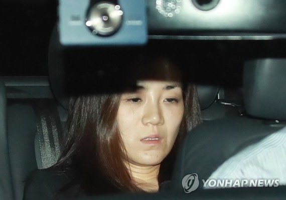The photo, filed May 2, 2018, captures Cho Hyun-min, an heiress to Korean Air Lines Co., inside a car on her way back from the Seoul Gangseo Police Station after undergoing a police questioning over assault allegations. (Yonhap)