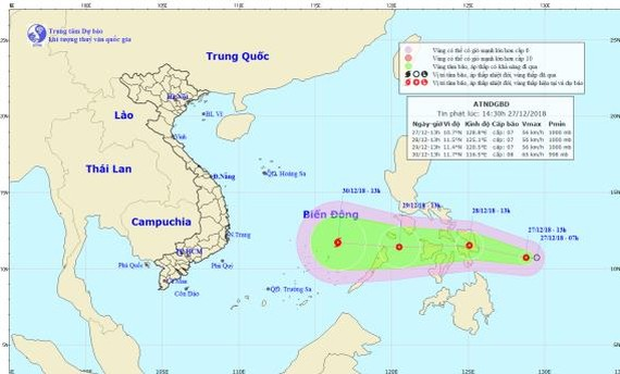 Tropical low-pressure near East Sea forecast to gain strength on December 29