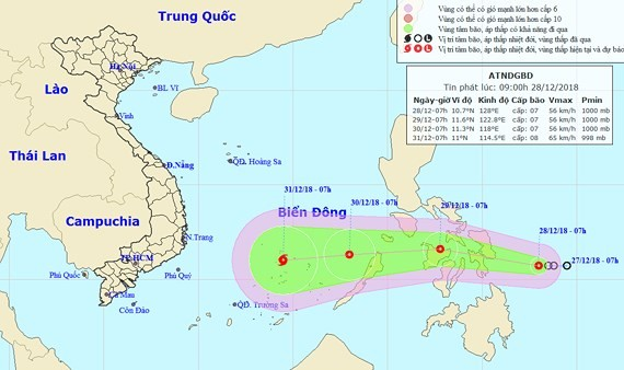 Tropical low-pressure system nears East Sea