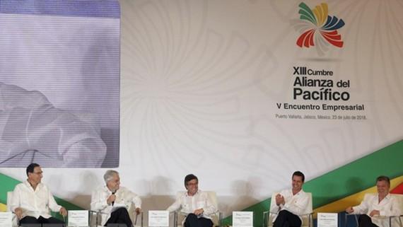 Lãnh đạo các nước Peru, Chile, Colombia và Mexico tại hội nghị Liên minh Thái Bình Dương ở Mexico ngày 23-7. Ảnh: Nguồn TTXVN