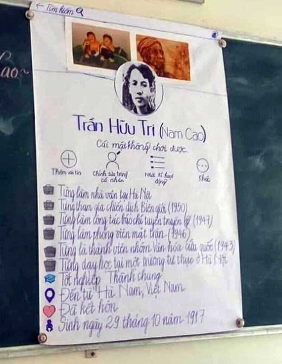 """Tạo """"facebook viết tay"""" cho nhân vật - sáng kiến của nhóm học sinh Trường THCS Quang Trung"""