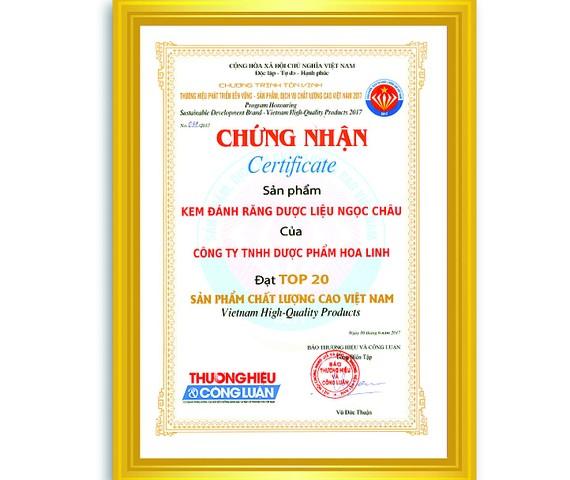 Kem đánh răng dược liệu Ngọc Châu đạt danh hiệu Sản phẩm chất lượng cao 2017