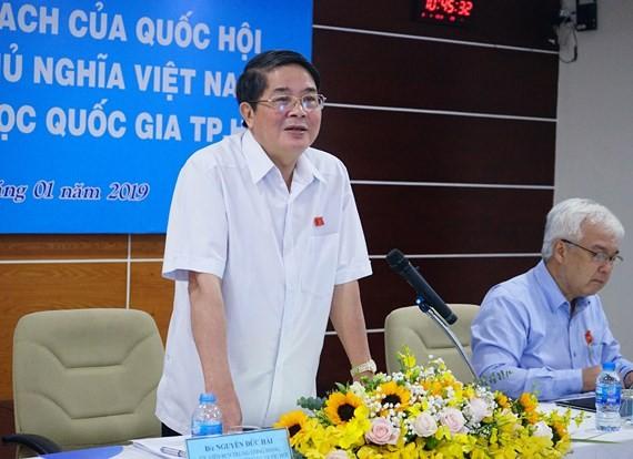Ông Nguyễn Đức Hải, Chủ nhiệm Ủy ban Tài chính, Ngân sách Quốc hội phát biểu tại buổi làm việc