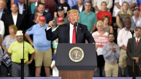 Tổng thống Trump tại một sự kiện ở bang Indiana. Ảnh: News Rnd
