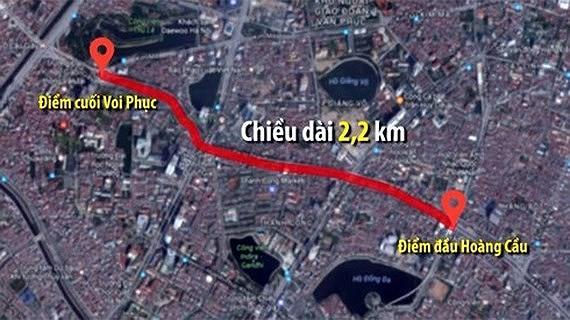 Vị trí và hướng xây dựng đường vành đai 1 đoạn Hoàng Cầu - Voi Phục.