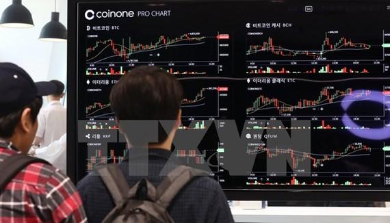 Bảng điện tử thông báo tỷ giá đồng tiền ảo tại một sàn giao dịch ở Seoul, Hàn Quốc. (Nguồn: Yonhap/TTXVN)