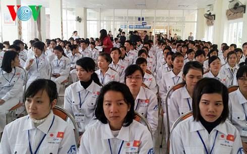Các ứng viên tham gia khóa đào tạo tiếng Nhật để được lựa chọn sang Nhật Bản làm việc trong lĩnh vực y tế