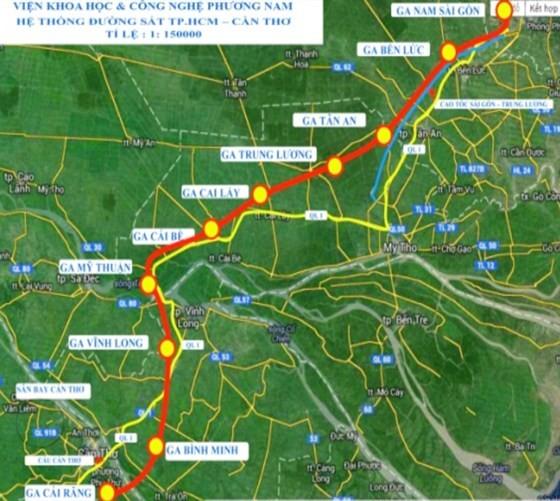 Biểu đồ dự án đầu tư tuyến đường sắt tốc độ cao TPHCM - Cần Thơ