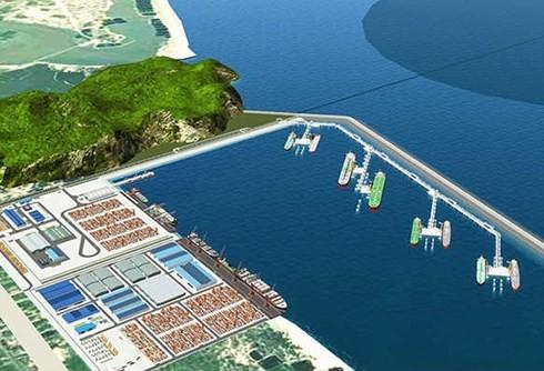 Mô hình cảng bãi gốc gắn với nhà máy lọc dầu.