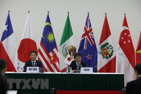 Bộ trưởng Bộ Công Thương Trần Tuấn Anh (trái) và Đại diện phụ trách đàm phán CPTPP của Nhật Bản Toshimitsu Motegi. (Nguồn: TTXVN)