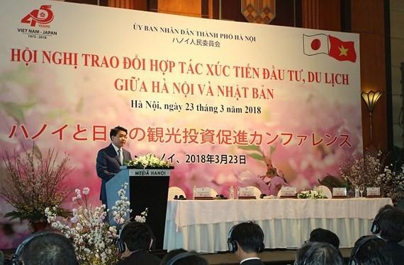 Chủ tịch UBND thành phố Hà Nội Nguyễn Đức Chung phát biểu tại Hội nghị