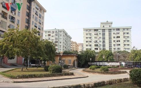 Khu chung cư Đồng Tàu - một trong số ít chung cư xây thấp tầng trên địa bàn quận Hoàng Mai.