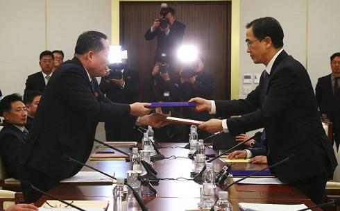 Hình ảnh một cuộc đàm phán cấp cao liên Triều ở Bàn Môn Điếm. Ảnh: AFP.