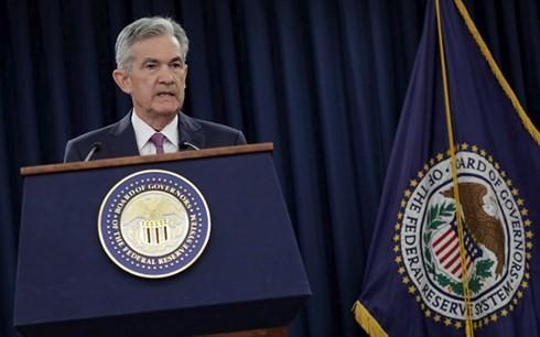 Ông Jerome Powell, Chủ tịch Fed phát biểu công bố quyết định tăng lãi suất sau cuộc họp kéo dài 2 ngày từ 12-13/6/2018, tại Washington, Mỹ. (Ảnh: Reuters)