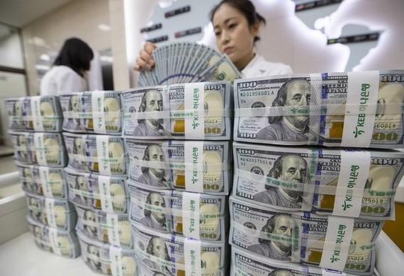 Kiểm tiền USD tại ngân hàng Hana ở thủ đô Seoul, Hàn Quốc. (Ảnh: EPA-EFE/TTXVN)