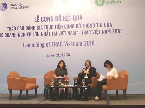 Lễ công bố báo cáo đánh giá thực tiễn công bố thông tin của 45 doanh nghiệp lớn nhất Việt Nam.