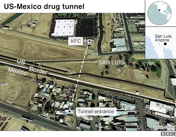 Đường hầm 180m nối một nhà hàng KFC cũ ở Arizona, Mỹ, tới một ngôi nhà ở Mexico