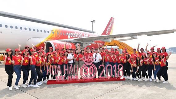 Top 43 Hoa hậu Việt Nam rực rỡ thu hút hàng triệu hành khách Vietjet