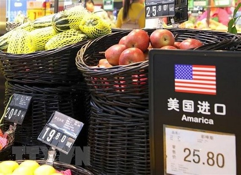 Sản phẩm hoa quả của Mỹ được bày bán tại siêu thị ở Bắc Kinh, Trung Quốc. (Nguồn: EPA/TTXVN)