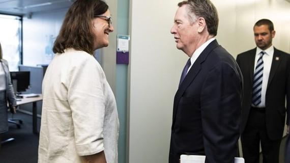 Đại diện cấp cao về thương mại của Liên minh châu Âu (EU) Cecilia Malmstrom (trái) và người đồng cấp Mỹ Robert Lighthizer. (Nguồn: EC)