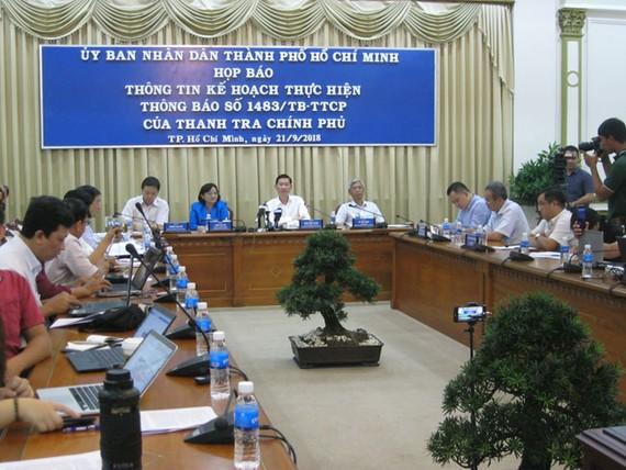 Quang cảnh họp báo, công bố kết luận thanh tra đối với khu đô thị (KĐT) mới Thủ Thiêm.