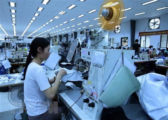 Sản xuất các mặt hàng may mặc xuất khẩu. (Ảnh: Phạm Kiên/TTXVN)