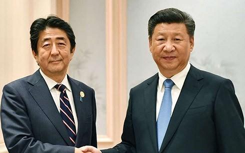 Thủ tướng Nhật Bản Shinzo Abe và Chủ tịch Trung Quốc Tập Cận Bình trong một cuộc gặp. (Ảnh: Kyodo).