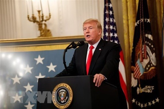 Tổng thống Mỹ Donald Trump phát biểu tại Nhà Trắng. (Nguồn: THX/TTXVN)