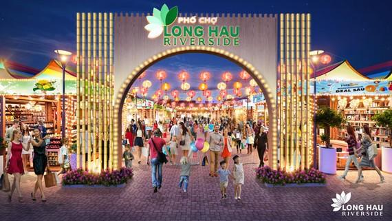 Quang cảnh dự án phố chợ Long Hậu Riverside.