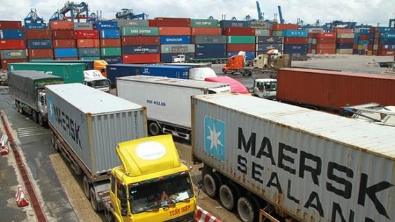 Doanh nghiệp vận tải hàng hóa lấy hàng tại cảng Cát Lái - Ảnh: T.L.