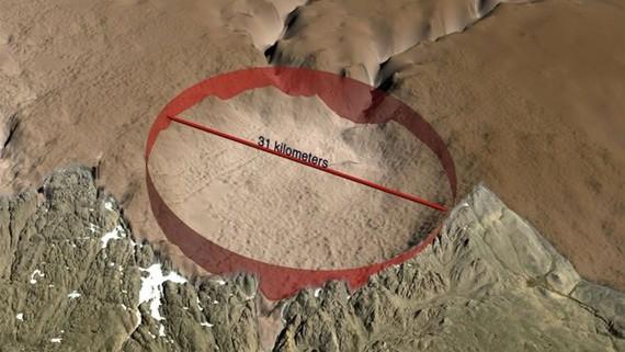 Phát hiện hố thiên thạch rộng 31km