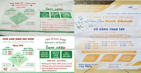 Các tờ rơi quảng cáo bất động sản giả mạo Công ty Him Lam