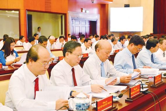Các đại biểu tại phiên khai mạc Hội nghị Thành ủy TPHCM. Ảnh VIệt Dũng