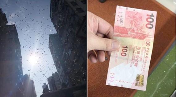 """""""Mưa tiền"""" ở Hồng Công khiến đám đông phát cuồng"""
